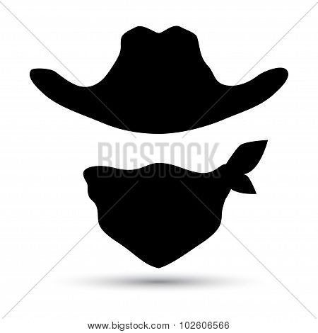 Cowboy vector icon isolated on white.