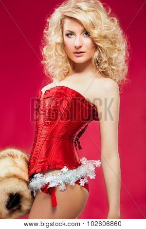 Blonde woman in red dress