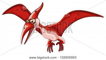 Red dinosaur flying on white illustration
