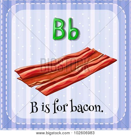 Flashcard letter B is for bacon illustration