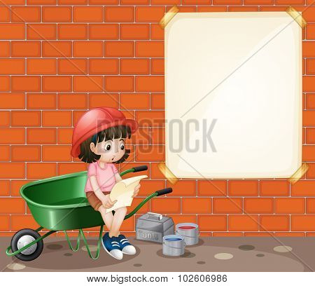Girl at construction site illustration