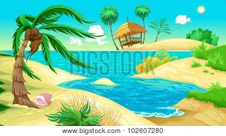 View on the beach. Vector illustration
