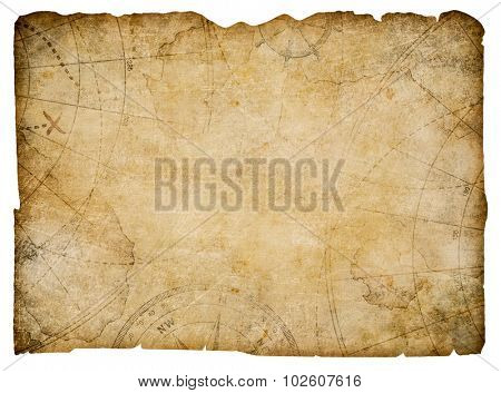 old nautical treasure map isolated on white