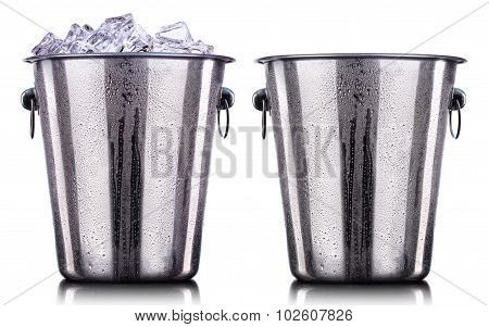 Champagne Metal ice buckets isolated on a white