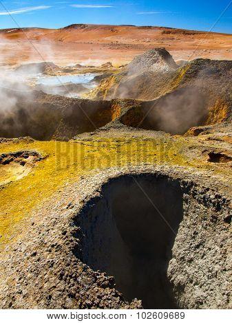 Geyser Sol de Manana in Bolivia