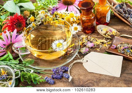 Cup of herbal tea with with honey and empty tag