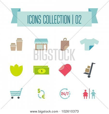 Colored Shopping Icons.