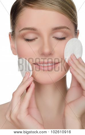 Beautiful European Woman With Cotton Pad