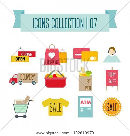 Colored Shopping Icons. Marketing and distribution, choices and transportation
