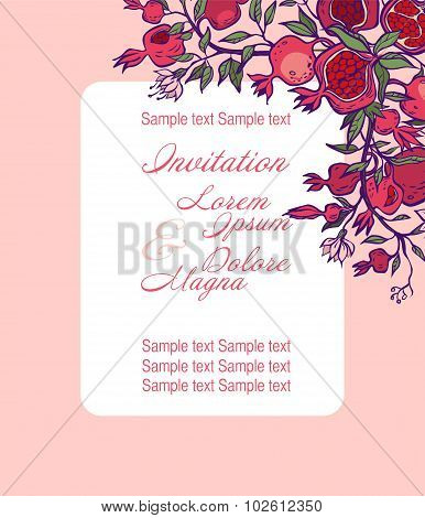 Wedding Invitation Card Suite With Pomgranates. Vector Illustration