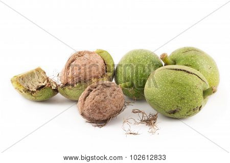 walnuts in green peel and walnuts in shell on white isolated background