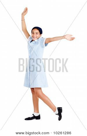 happy schoolgirl in uniform