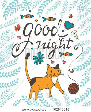Good night concept card with a cat