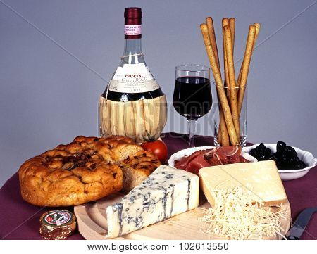 Italian wine and food selection.