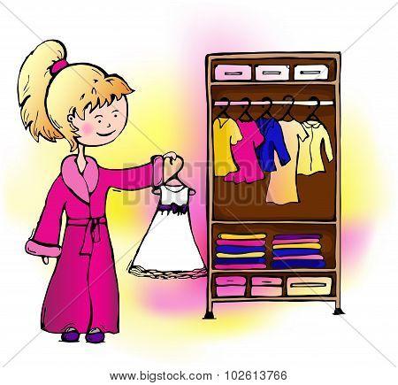 Girl Dress Hangs In The Closet