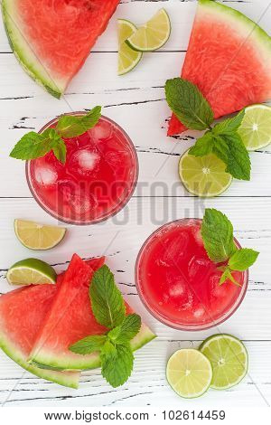 Watermelon lime cooler - refreshing summer watermelon drink with lime and mint. Top view