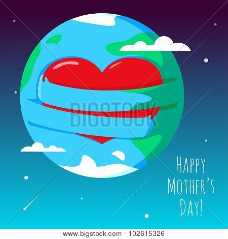 Romantic and love illustration of the globe with his hands, that hugs heart. Greeting Card for Happy