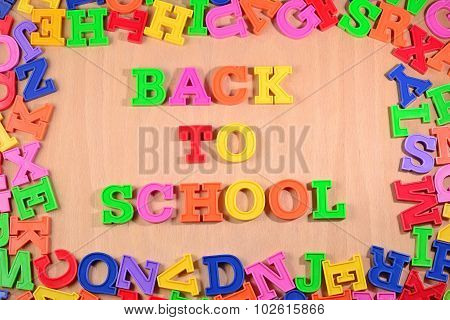 Back To School Written By Plastic Colorful Letters