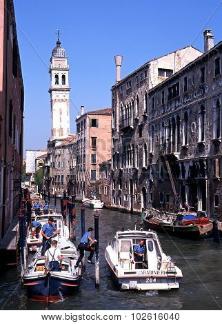 Boats on canal, Venice.