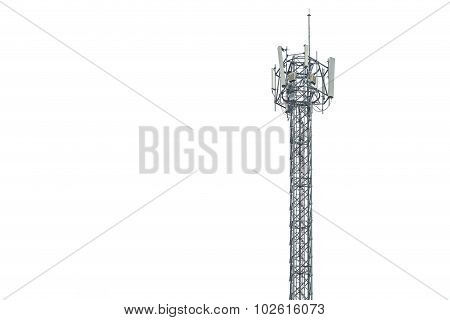 Communication Tower In Thailand Isolated On White