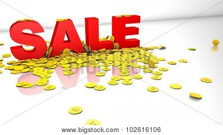 3d sale concept with letters and gold coins