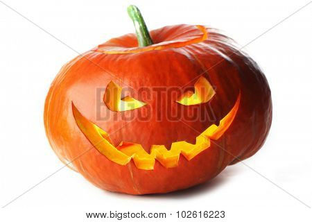 Funny Halloween Jack O' Lantern pumpkin isolated on white background