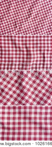 Four Red And White Picnic Tablecloth Textures.