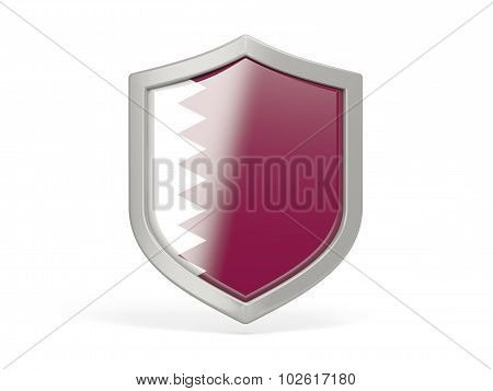 Shield Icon With Flag Of Qatar