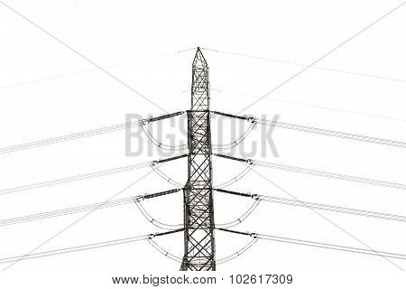 High Voltage Transmission Lines Isolated On White Background