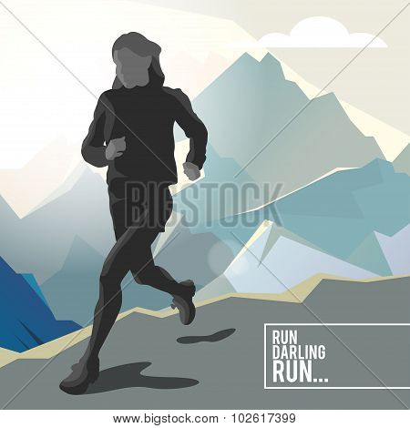 Silhouette of a running girl athlete on the background of mountains with stylish typographic. Vector