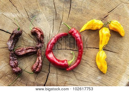 Various Hot Peppers Spelling The Word