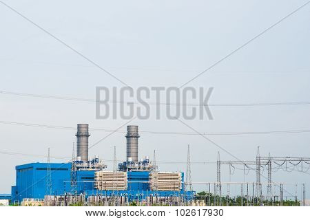 Electricity Post And High Voltage Electric Power Substation