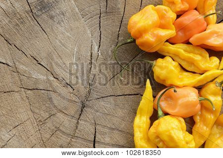 Various yellow hot peppers