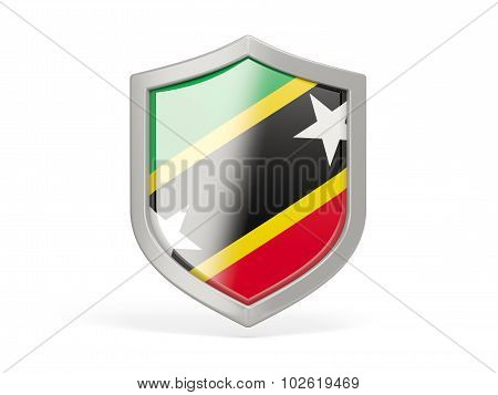 Shield Icon With Flag Of Saint Kitts And Nevis