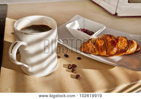 French Breakfast - Coffee, Croissant And Jam