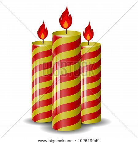Red Yellow Wax Candles Set.