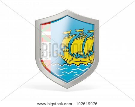 Shield Icon With Flag Of Saint Pierre And Miquelon