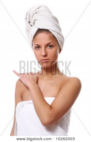 Beautiful Girl With White Towel