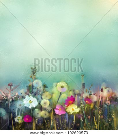 Oil Painting Wildflowers Field In Summer Meadow
