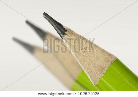 Macro Shot Of A Green Pencil