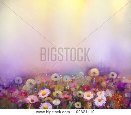 Oil Painting Flowers Dandelion, Poppy, Daisy, Cornflower In Fields