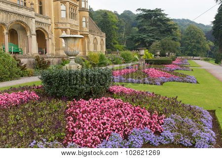Beautiful flower gardens Tyntesfield House near Wraxall North Somerset England UK Victorian mansion