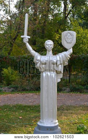 KIEV, UKRAINE - September 23, 2015: Entertaiment Park Ukraine in Miniature (Small scale Ukraine).Statue of the Motherland in Kiev