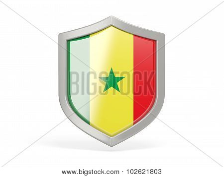 Shield Icon With Flag Of Senegal