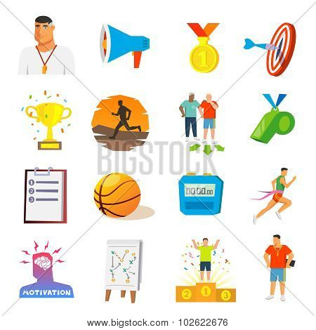 Coaching And Sport Flat Icons