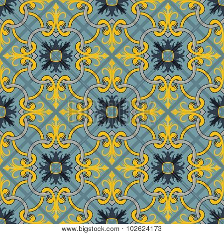 Gorgeous seamless patchwork pattern from  blue and yellow Moroccan tiles, ornaments. Can be used for