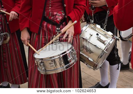Marching Band With Woman Drummer