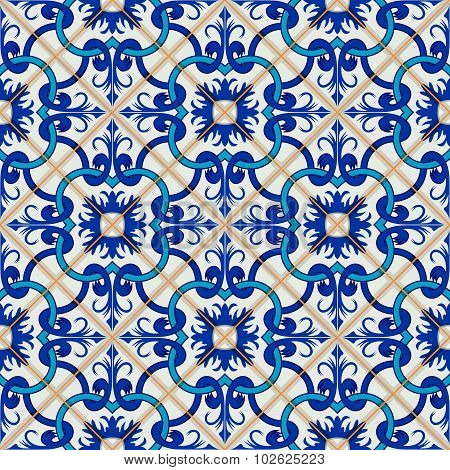 Gorgeous seamless patchwork pattern from dark blue and white Moroccan, Portuguese  tiles, Azulejo, o