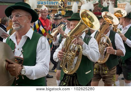 Oktoberfest Marching Band With Costumes And Horns
