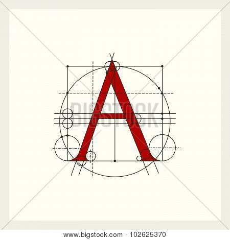 Creative monogram, Construction Latin capital letter A. It can be used as a logo, emblem.